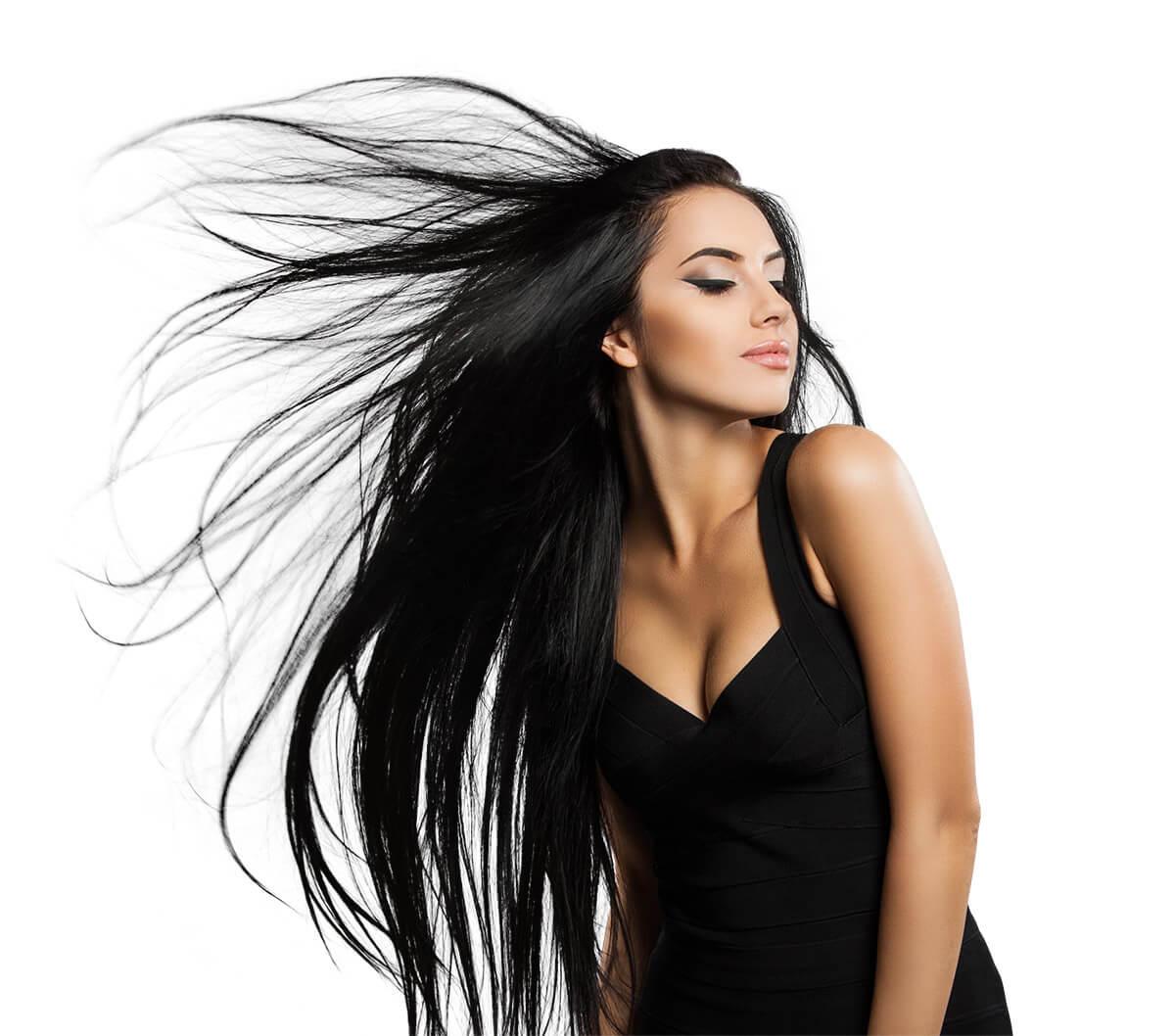 Freistellen Bildbearbeitung Haare Frau schwarz 2