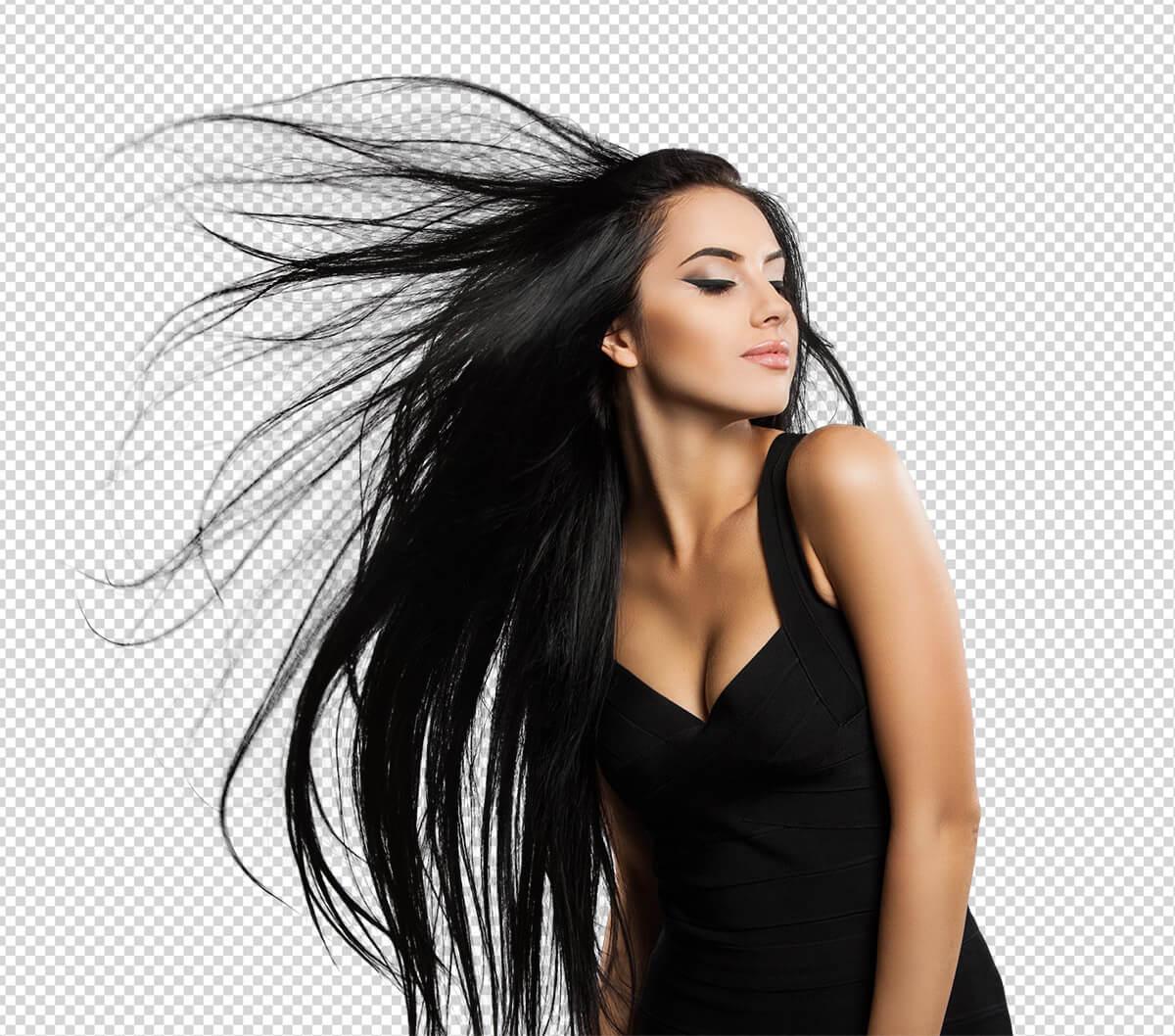 Freistellen Bildbearbeitung Haare Frau schwarz