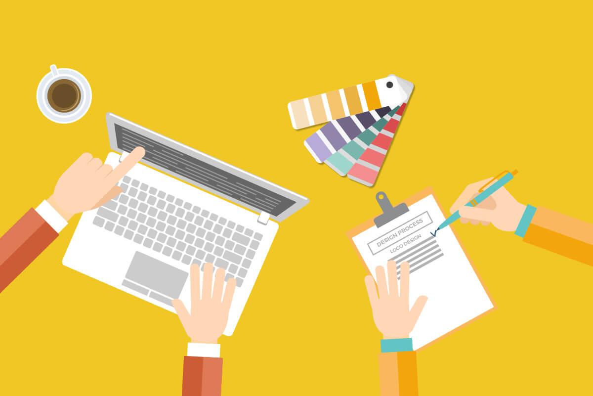 Illustration Schreibtisch Design Process