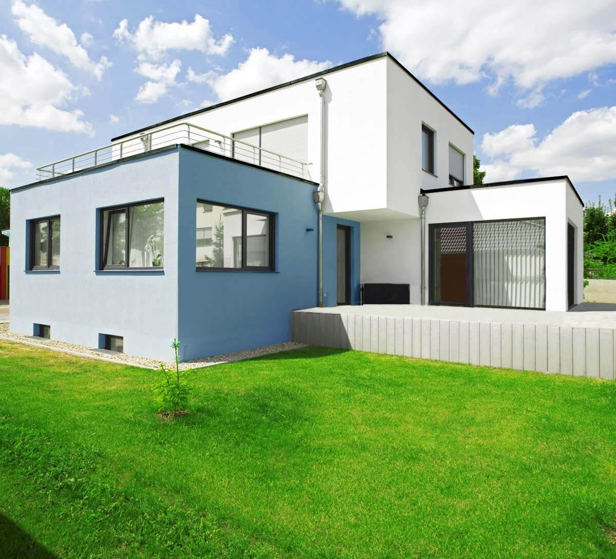 Freistellen Haus Retusche Spiegelung Fenster Garten Hintergrundmontage
