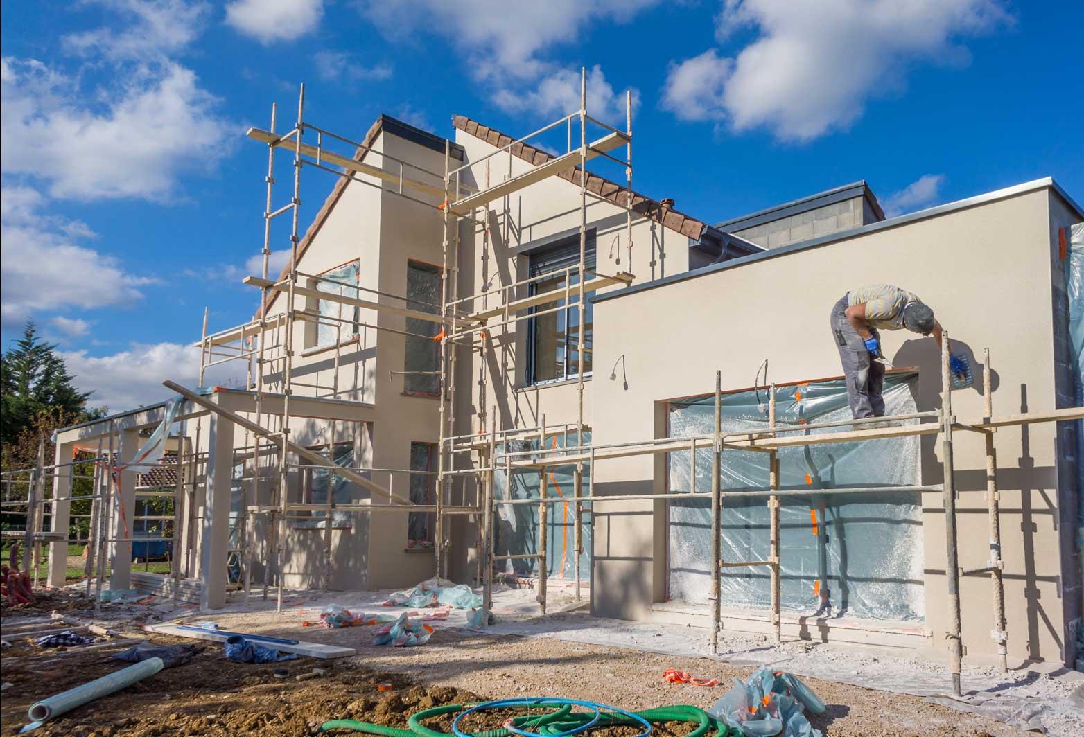 Immobilien Baugerüst Bauarbeiter Version 1