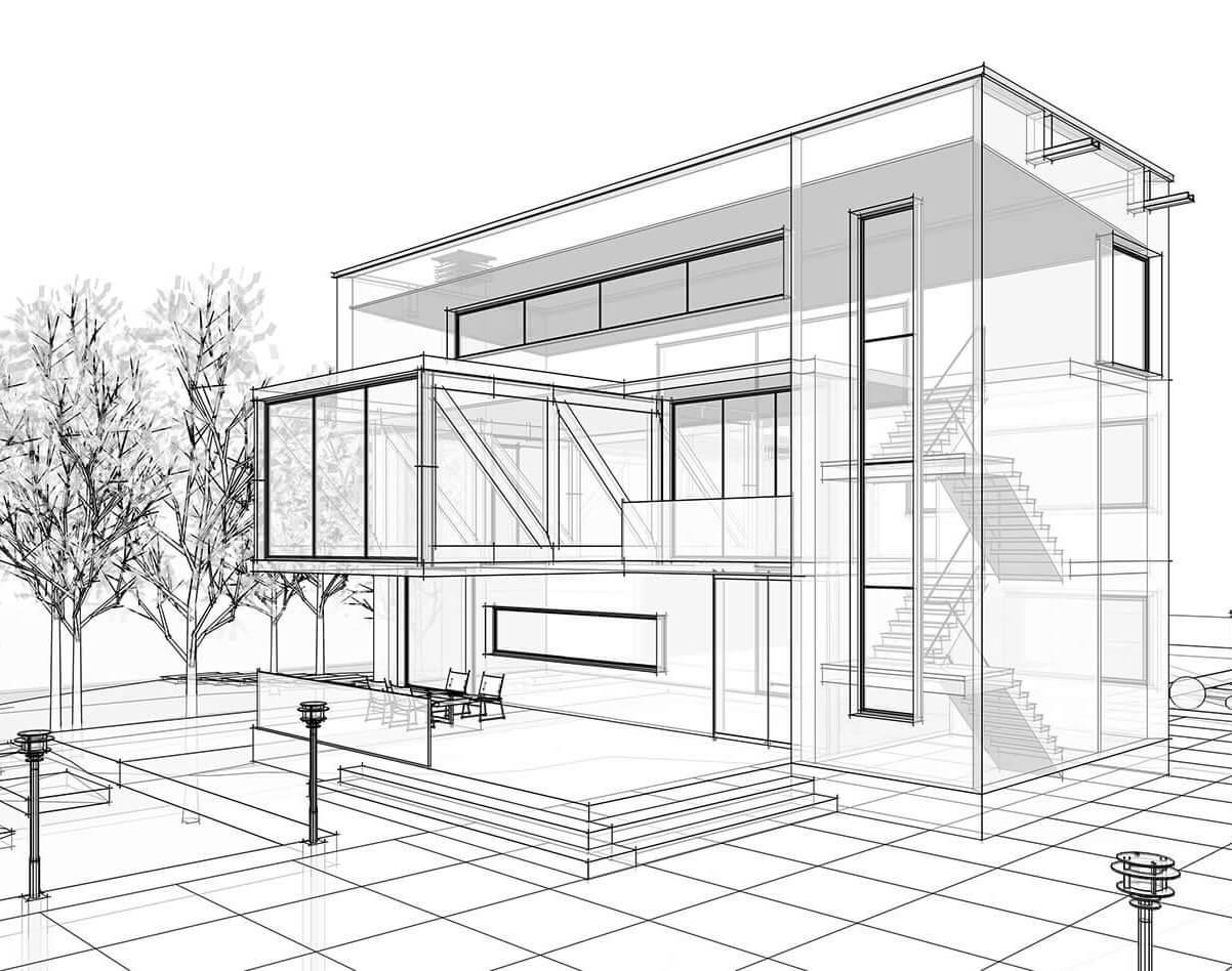 Architektur Gebäude Zeichnung 3D Visualisierung