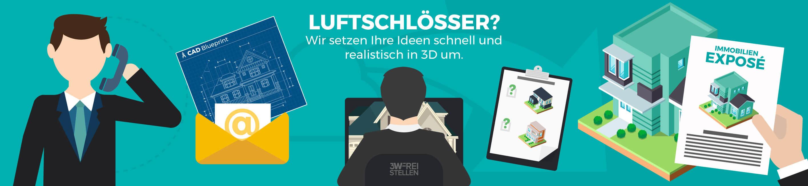 Vektorgrafik 3D Visualisierung Luftschlösser Deutsch