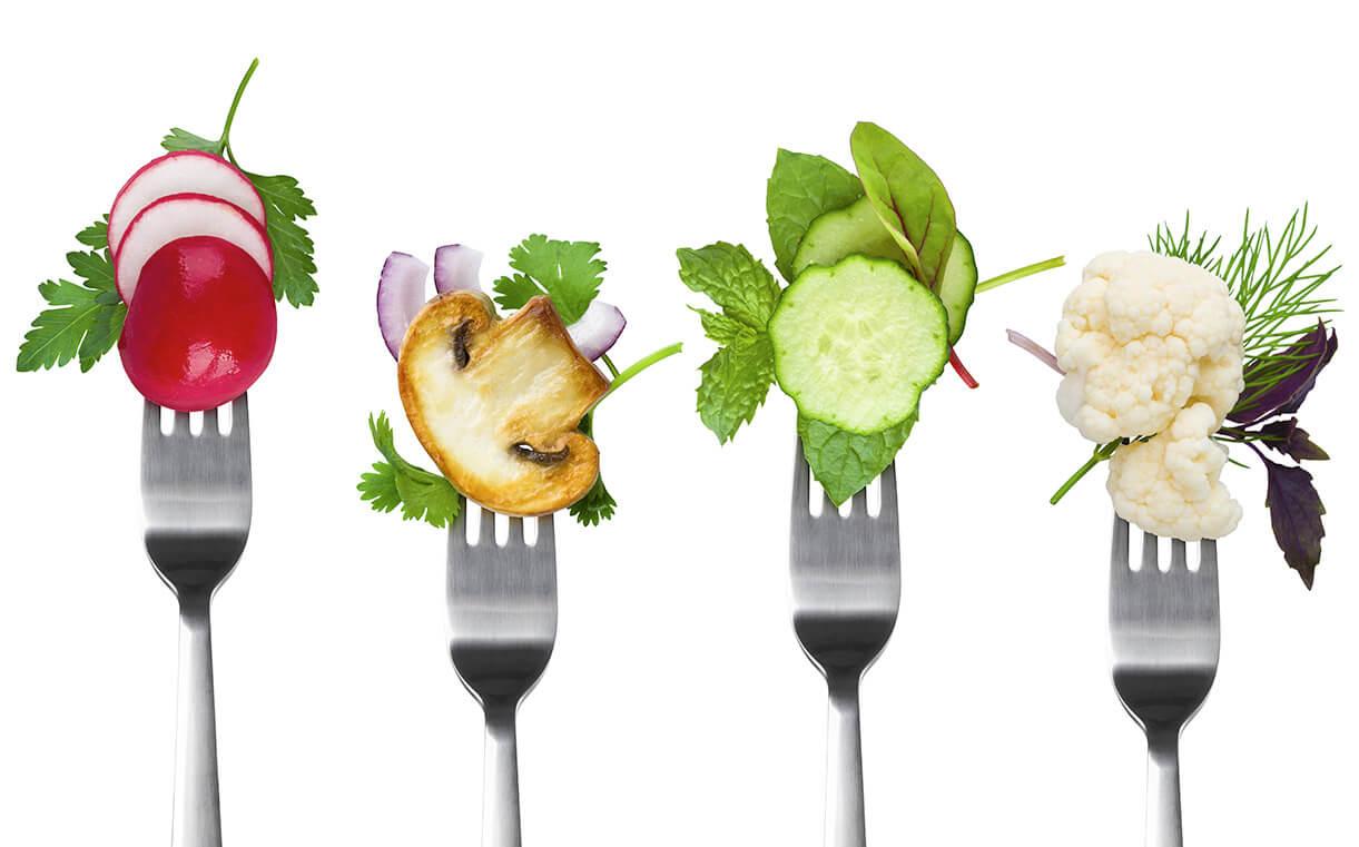 Freistellen Lebensmittel Probierhäppchen Gabel