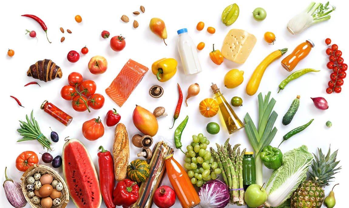 Freistellen Lebensmittel Collage Früchte Obst Gemüse