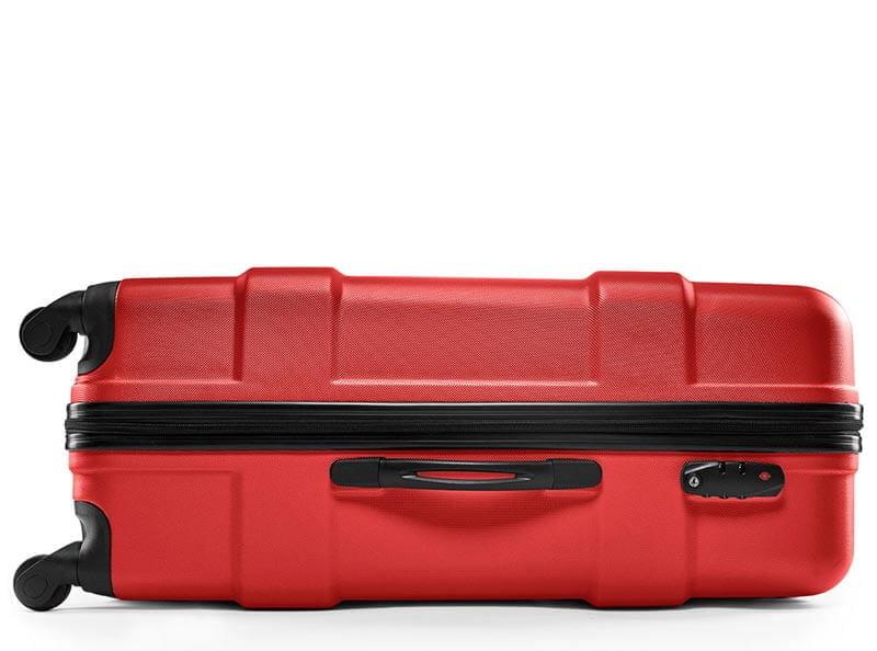 Freistellen Reisekoffer Schatten Produktfoto rot