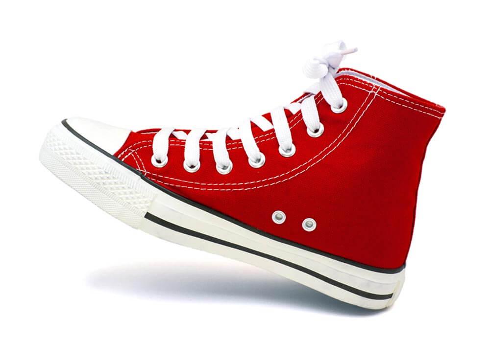 Freisteller Schuh rot weiß Schatten