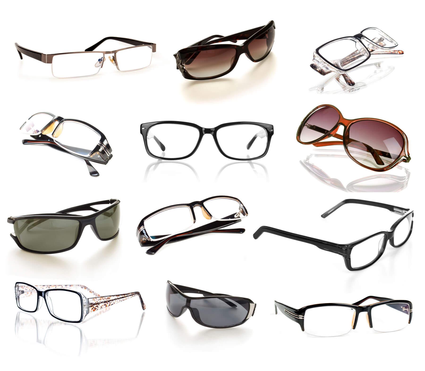 Freistellen Brillen Sonnenbrillen verschiedene Modelle Spiegeleffekte