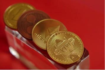 Münzsammlung mit Bitcoin