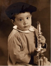Produktfoto Sepia Junge Saxophon